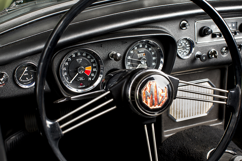 The interior  in our 1963 MGB Roadster is all original.